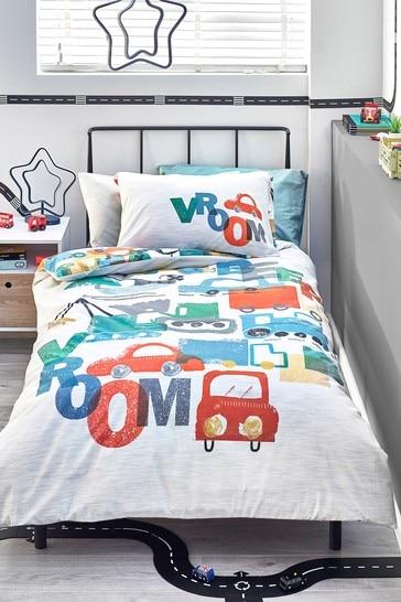 Multi Vroom Transport Reversible Duvet Cover and Pillowcase Set