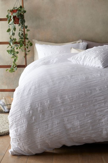 White Simply Soft Crinkle Duvet Cover And Pillowcase Set