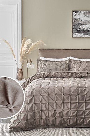 Taupe All Over Pleated Duvet Cover And Pillowcase Set