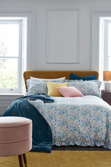 Light Teal Carefree Vintage Ditsy Ruffle Edge Duvet Cover and Pillowcase Set