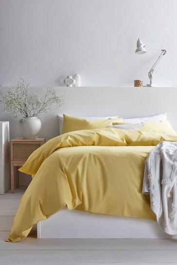 Yellow Cotton Rich Duvet Cover And Pillowcase Set