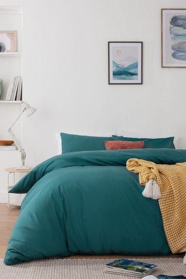 Dark Teal Cotton Rich Duvet Cover And Pillowcase Set
