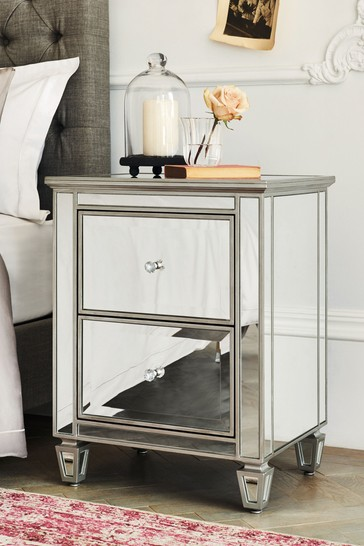 Fleur Mirrored 2 Drawer Bedside Table