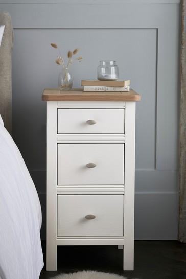 Hampton Country Luxe Painted Oak 3 Drawer Bedside Table