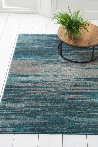 Teal Abstract Stripe Rug