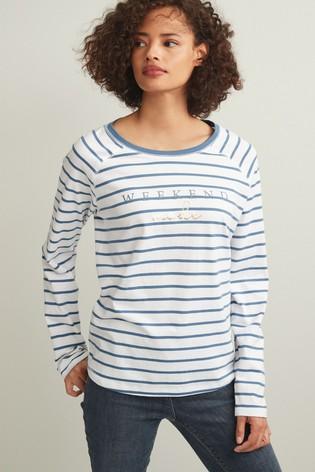 Blue Stripe Weekend Graphic Raglan Long Sleeve Top