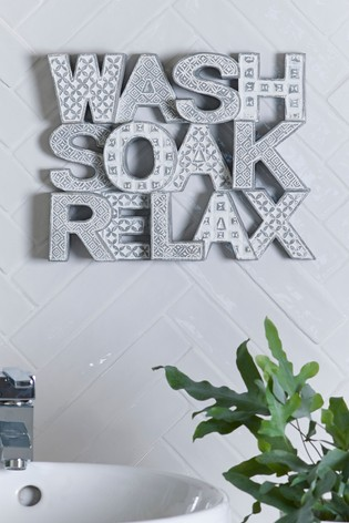 Wash Soak Relax Word Block
