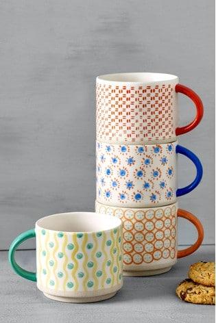 Set of 4 Callie Hand Painted Stacking Mugs