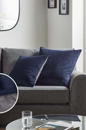 Navy/Grey Mila Twin Velvet Large Square Cushion