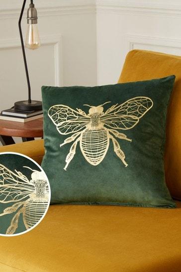 Green Metallic Bee Square Cushion