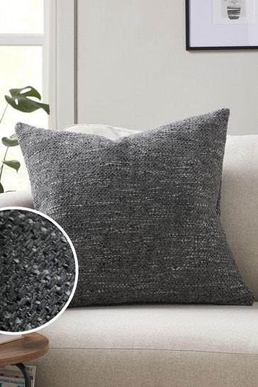 Charcoal Grey Ashton Chunky Chenille Large Square Texture Cushion