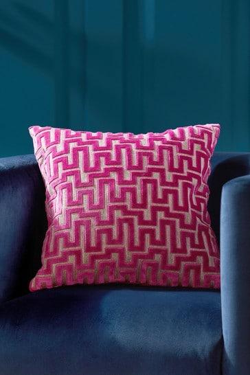 Fuchsia Pink Fretwork Velvet Small Square Cushion