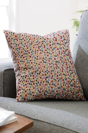 Multi Velvet Spot Small Square Cushion