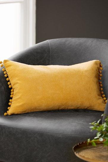Honey Soft Velour Pom Edge Rectangle Cushion