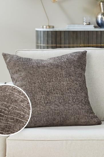 French Grey Heavyweight Chenille Large Square Cushion