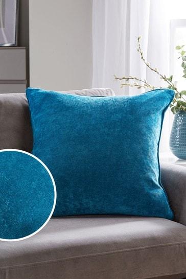 Dark Teal Soft Velour Large Square Cushion