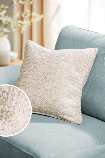 Natural Ashton Chunky Chenille Square Texture Cushion
