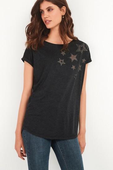 Charcoal Scatter Star Curved Hem T-Shirt