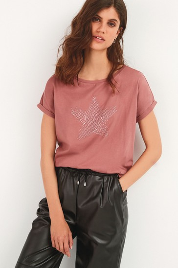 Pink Star Curved Hem T-Shirt