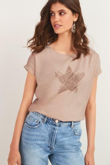 Neutral Star Curved Hem T-Shirt