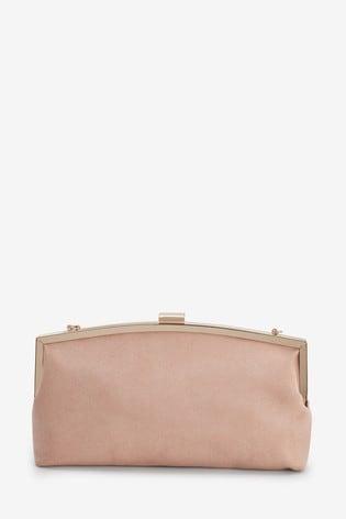 Nude Pink Frame Clutch Bag
