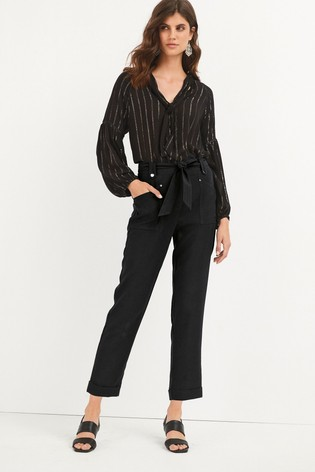 Black Tapered Belted Trousers
