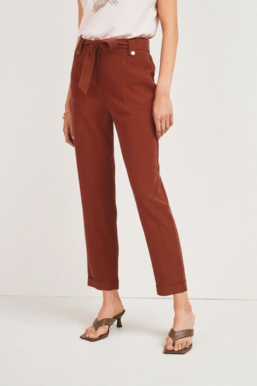 Rust Tapered Belted Trousers