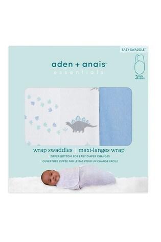 Aden & Anais™ Blue Dino-Rama Essentials Easy 3 Pack Swaddles