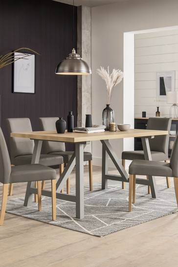 Malvern Dove Grey Trestle 6 Seater Dining Table