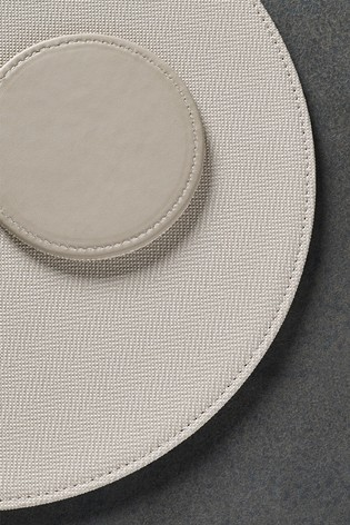 4 Round Textured Reversible Faux Leather Placemats And Coasters Set