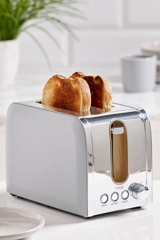 Grey With Wood Finish Detail 2 Slot Toaster