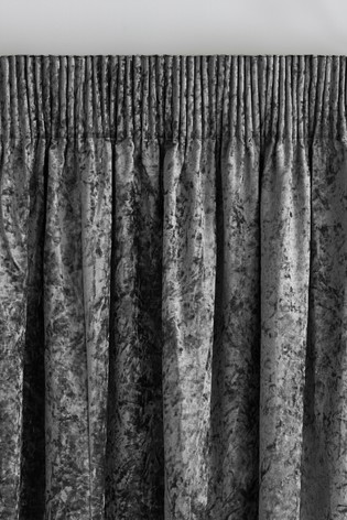 Grey Crushed Velvet Pencil Pleat Lined Curtains