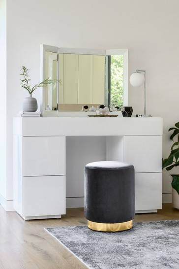 Sloane Collection Luxe White Slim Storage Dressing Table / Desk