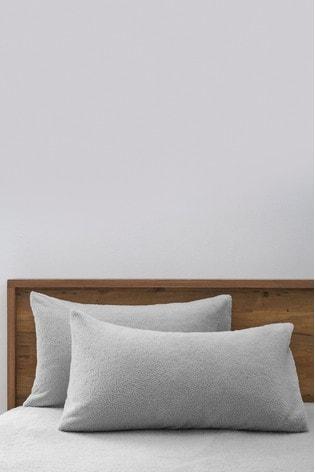 Set of 2 Grey Teddy Fleece Pillowcases
