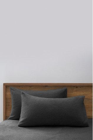 Set of 2 Charcoal Teddy Fleece Pillowcases