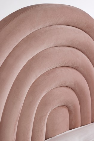 Pink Upholstered Rainbow Shaped Bed