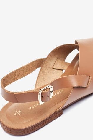Tan Regular/Wide Fit Forever Comfort® Cross Front Slingback Sandals