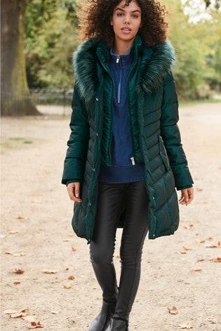 Green Faux Fur Padded Jacket