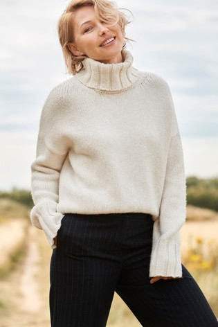 Cream Emma Willis Chunky Roll Neck Top