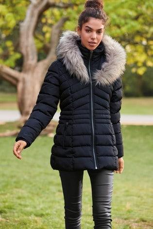 Navy Faux Fur Halo Padded Short Jacket