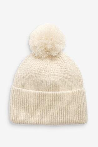 Cream Knitted Pom Hat