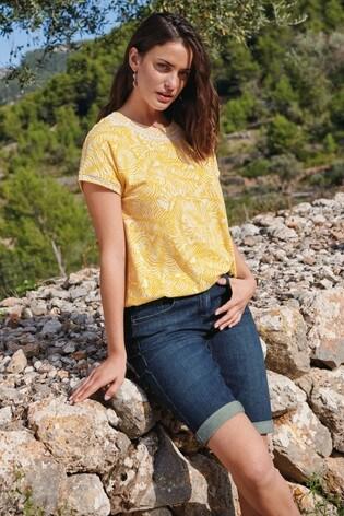 Yellow Palm Print Bubble Hem T-Shirt
