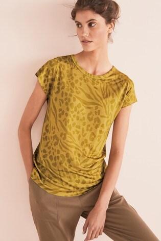 Ochre Animal Print Cap Sleeve T-Shirt