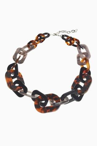 Tortoiseshell Effect Resin Chain Necklace