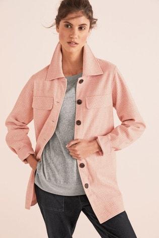 Pink Check Shacket