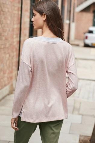 Pink/Grey Cosy V-Neck Top