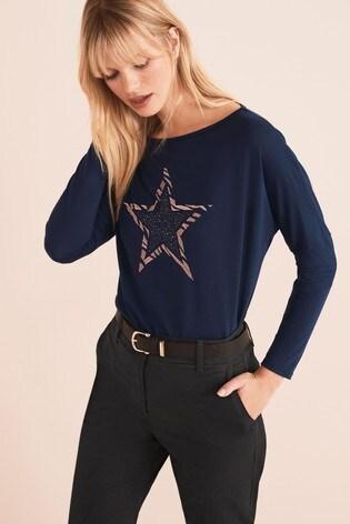 Navy Embellished Star Dolman Long Sleeve Top