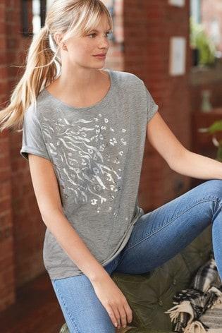 Grey/Silver Curved Hem T-Shirt