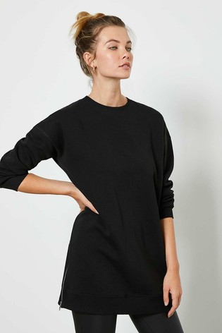 Mint Velvet Black Long Zip Sweatshirt