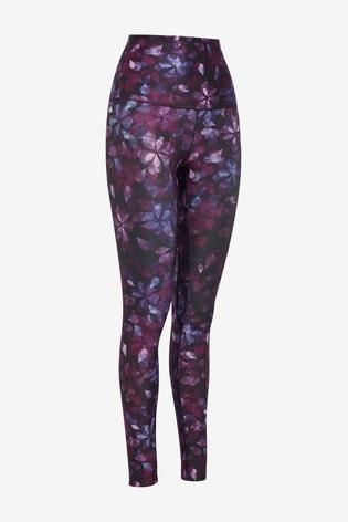 Floral Purple High Waist Sculpting Sports Leggings